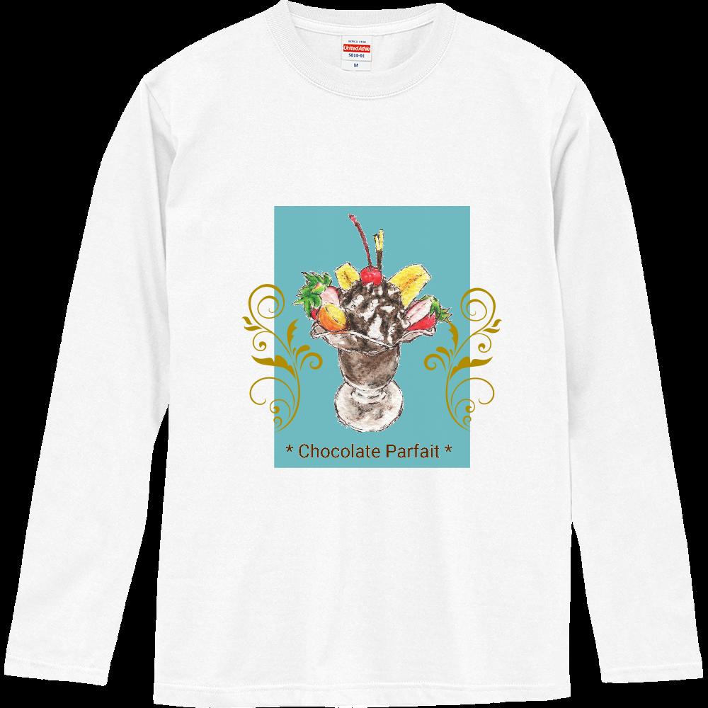 チョコレートパフェ(寒色背景)長袖Tシャツ※カラー選択可 ロングスリーブTシャツ