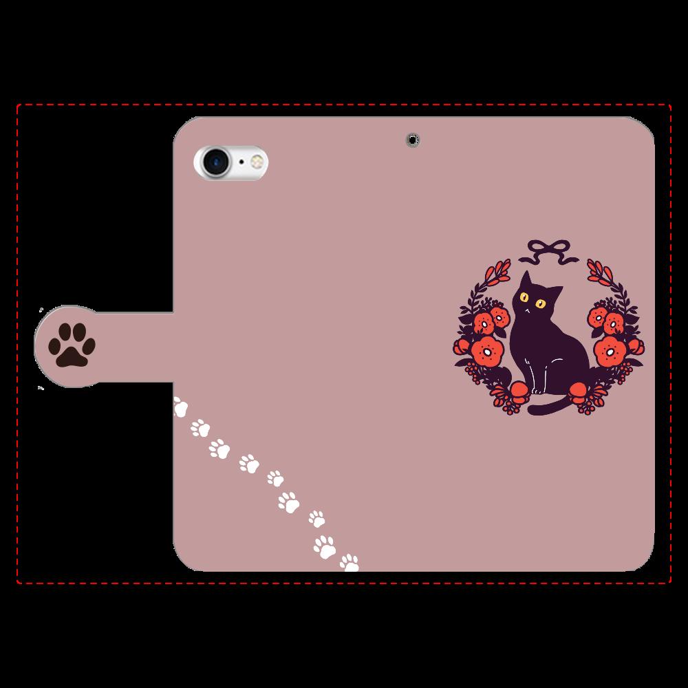 赤いお花と黒猫 手帳型ベルト付きiPhone8