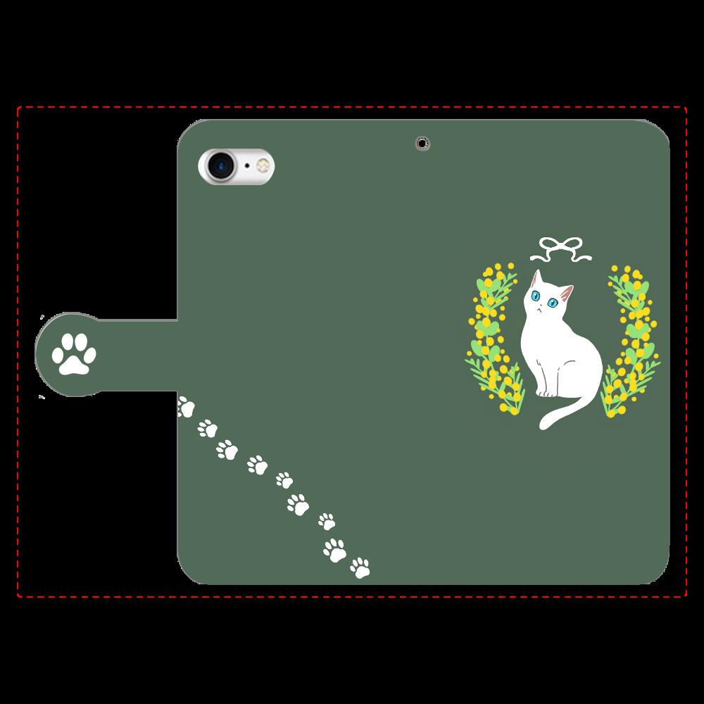 ミモザと白猫 手帳型ベルト付きiPhone8