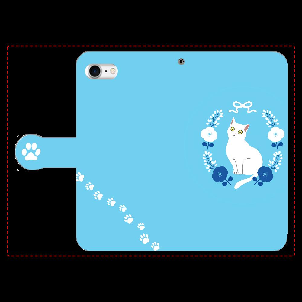 ポピーと白猫 手帳型ベルト付きiPhone8