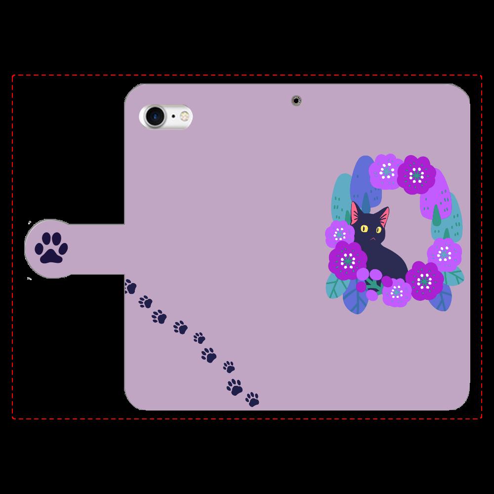 リースと黒猫 手帳型ベルト付きiPhone8