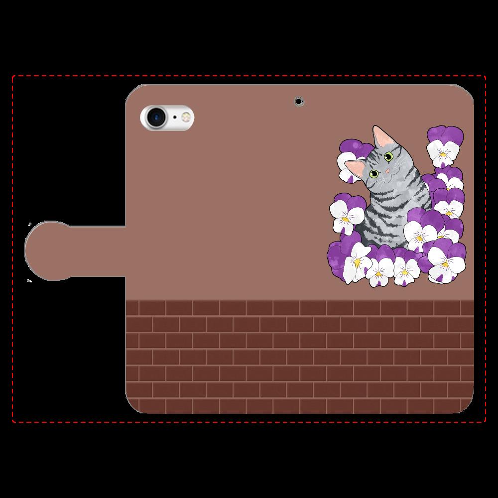 ビオラとアメショ 手帳型ベルト付きiPhone8
