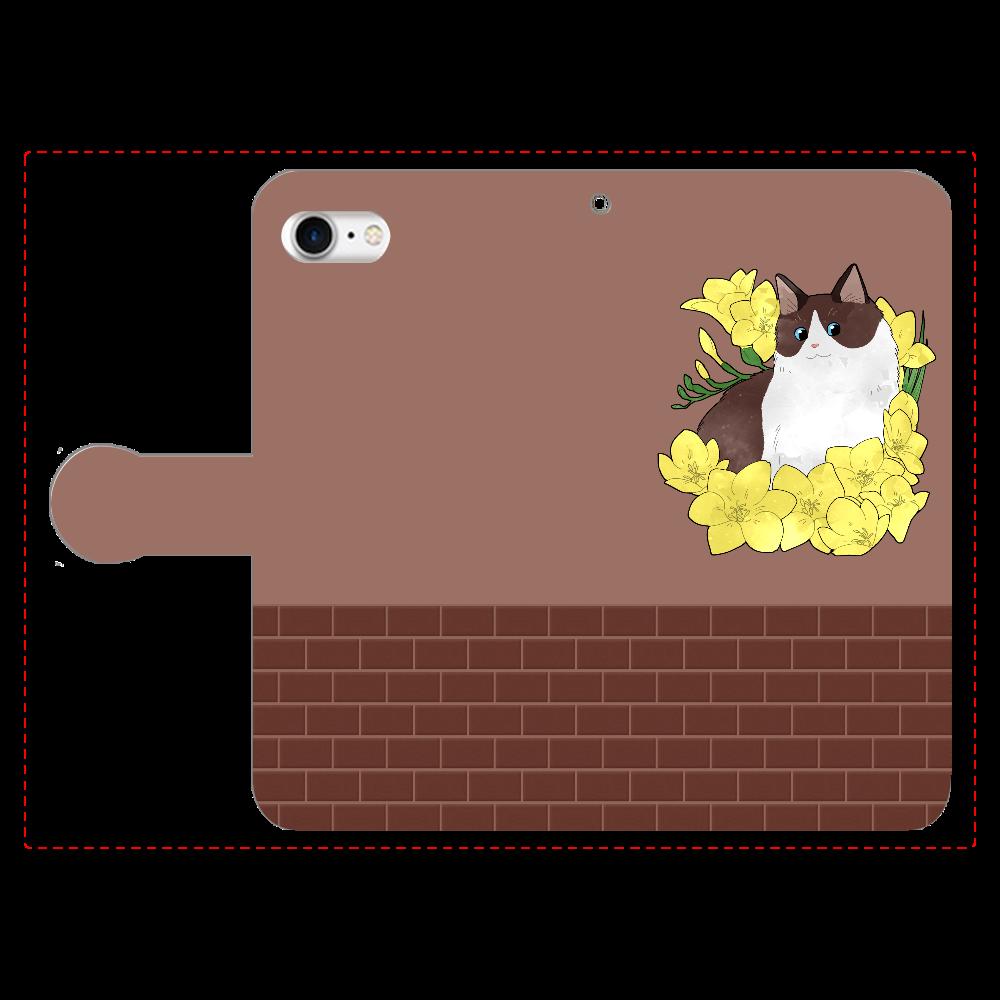 フリージアと長毛猫 手帳型ベルト付きiPhone8