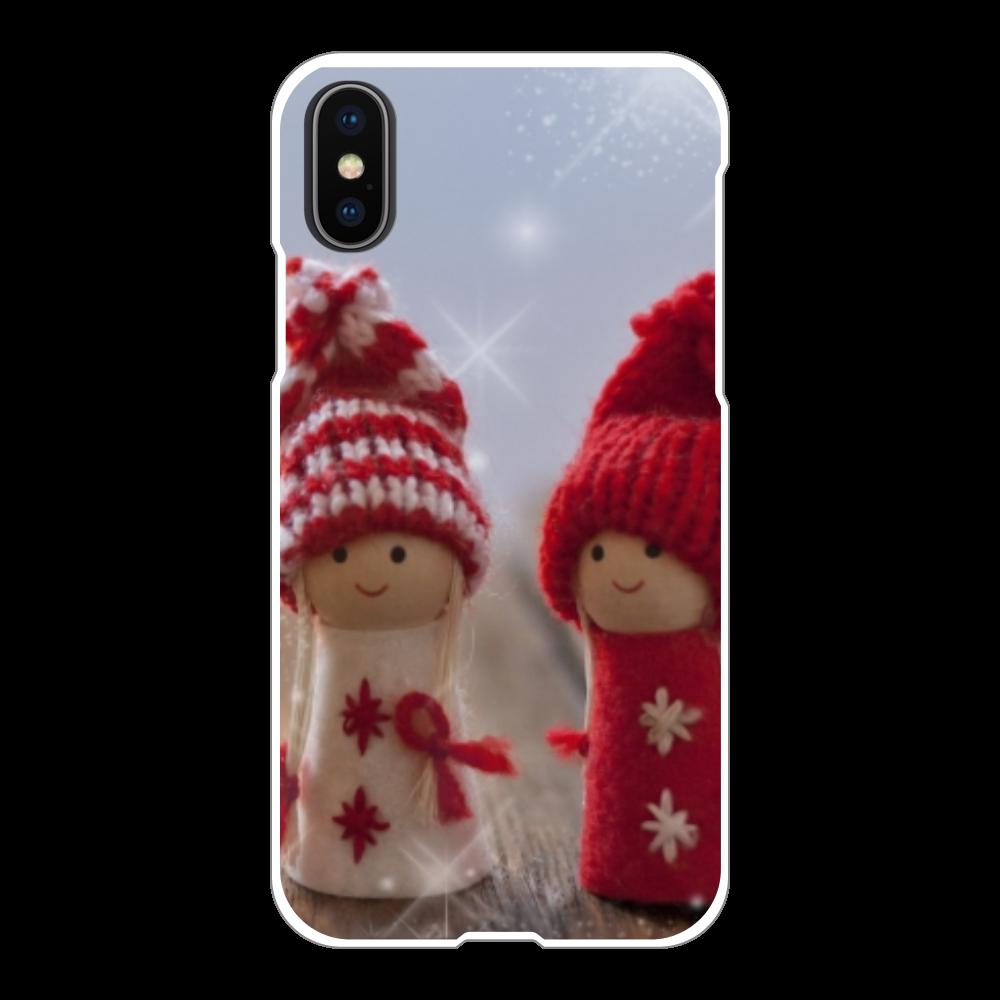 iPhoneX ハードケース/クリスマス 冬 iPhoneX/Xs(白)