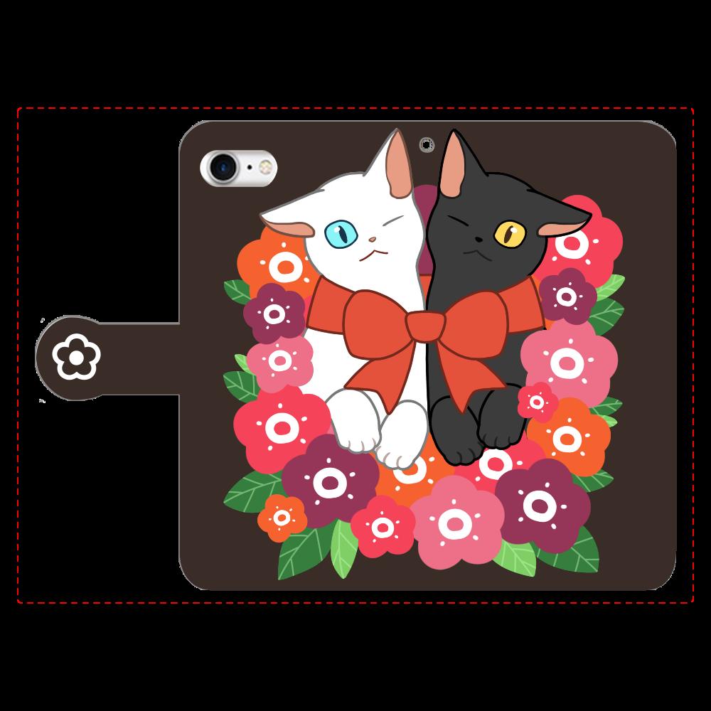 花束と猫たち 手帳型ベルト付きiPhone8