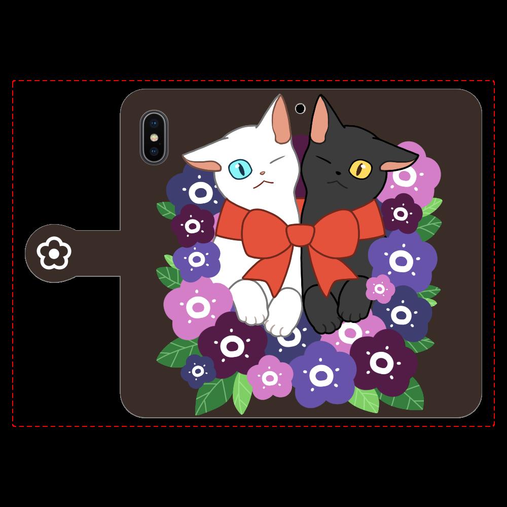 花束と猫たち iPhoneX/Xs 手帳型スマホケース