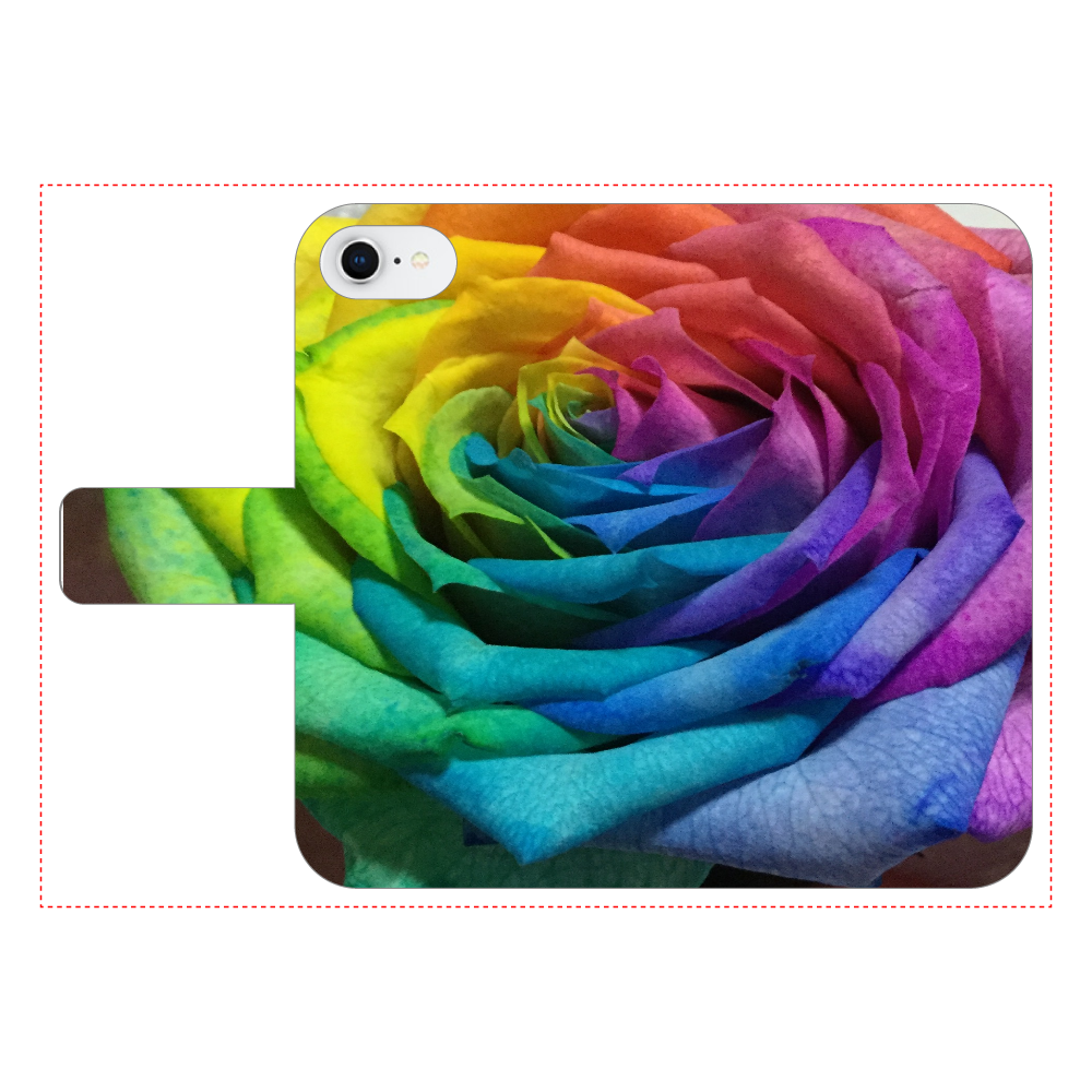 奇跡の花言葉を持つレインボーローズのiphone手帳型スマホケース ベルトあり3ポケット iPhone7 iPhone7 手帳型スマホケース ベルトあり3ポケット