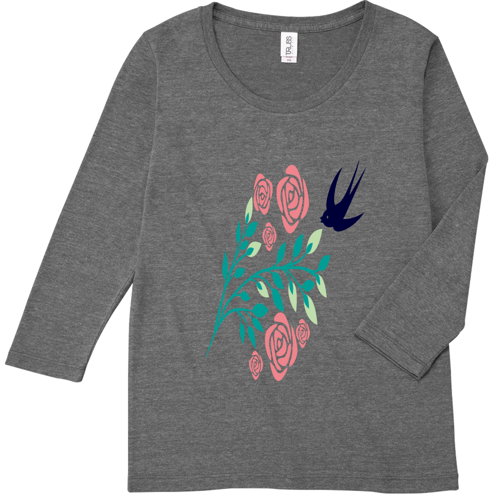 花と鳥のトライブレンド7分袖レディースTシャツ トライブレンド7分袖レディースTシャツ