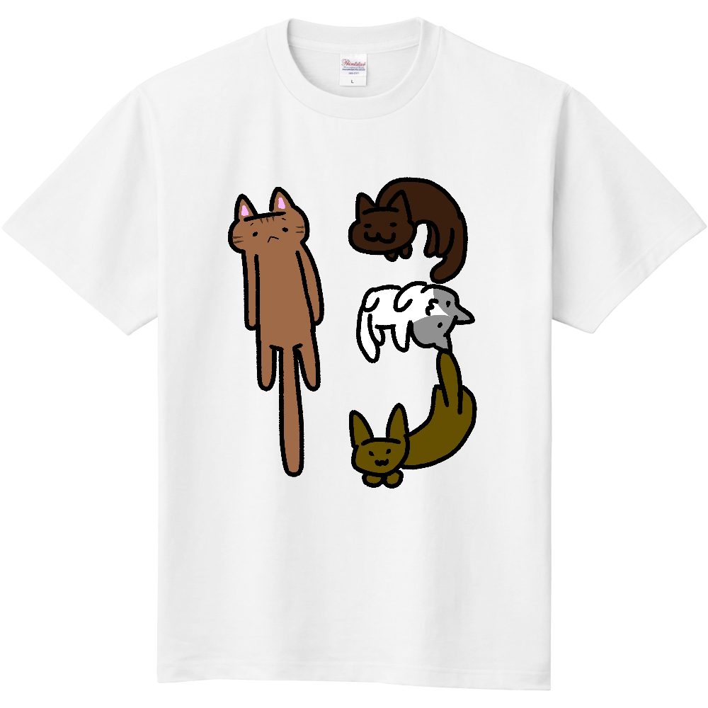【365Tシャツ】13.ねこよんひき 定番Tシャツ