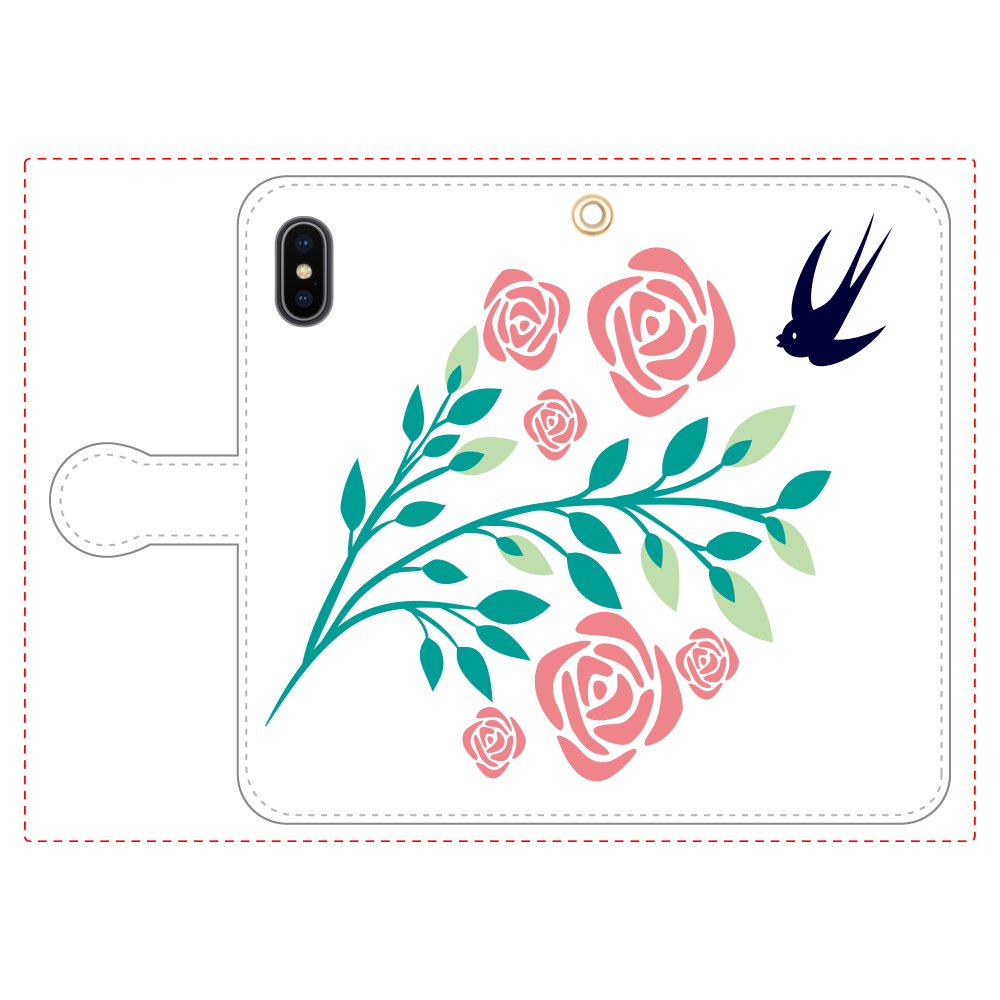 花と鳥の手帳型ベルト付きiPhoneX/Xs iPhoneX/Xs 手帳型スマホケース