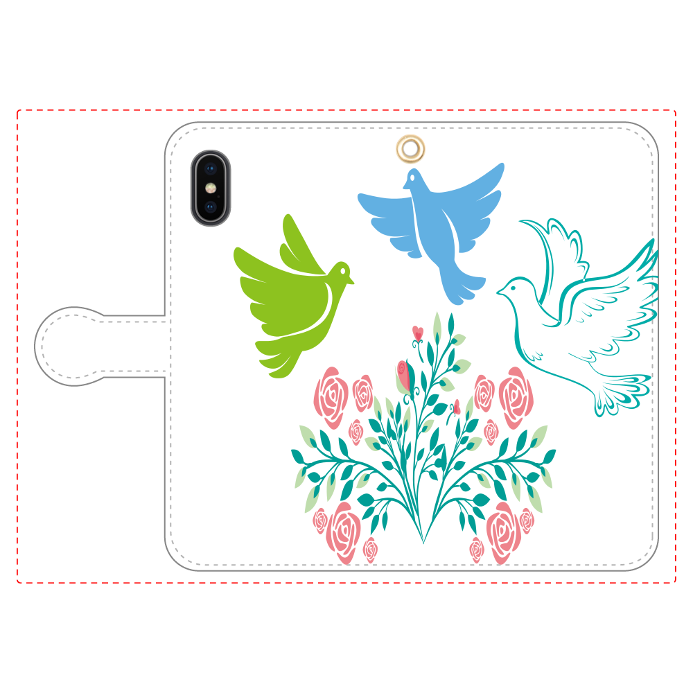 花と鳥3の手帳型ベルト付きiPhoneX/Xs iPhoneX/Xs 手帳型スマホケース
