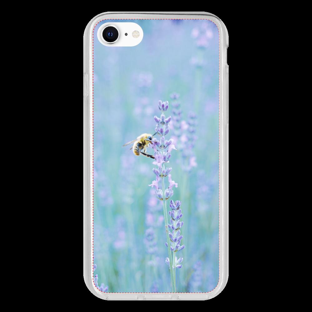 抗菌ソフトケース ラベンダーとハチ iPhone SE2 抗菌ソフトケース
