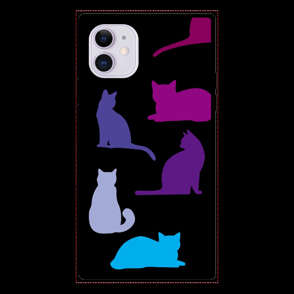 猫2のスクエア型強化ガラスケース iPhoneⅪ iPhone11 スクエア型強化ガラスケース