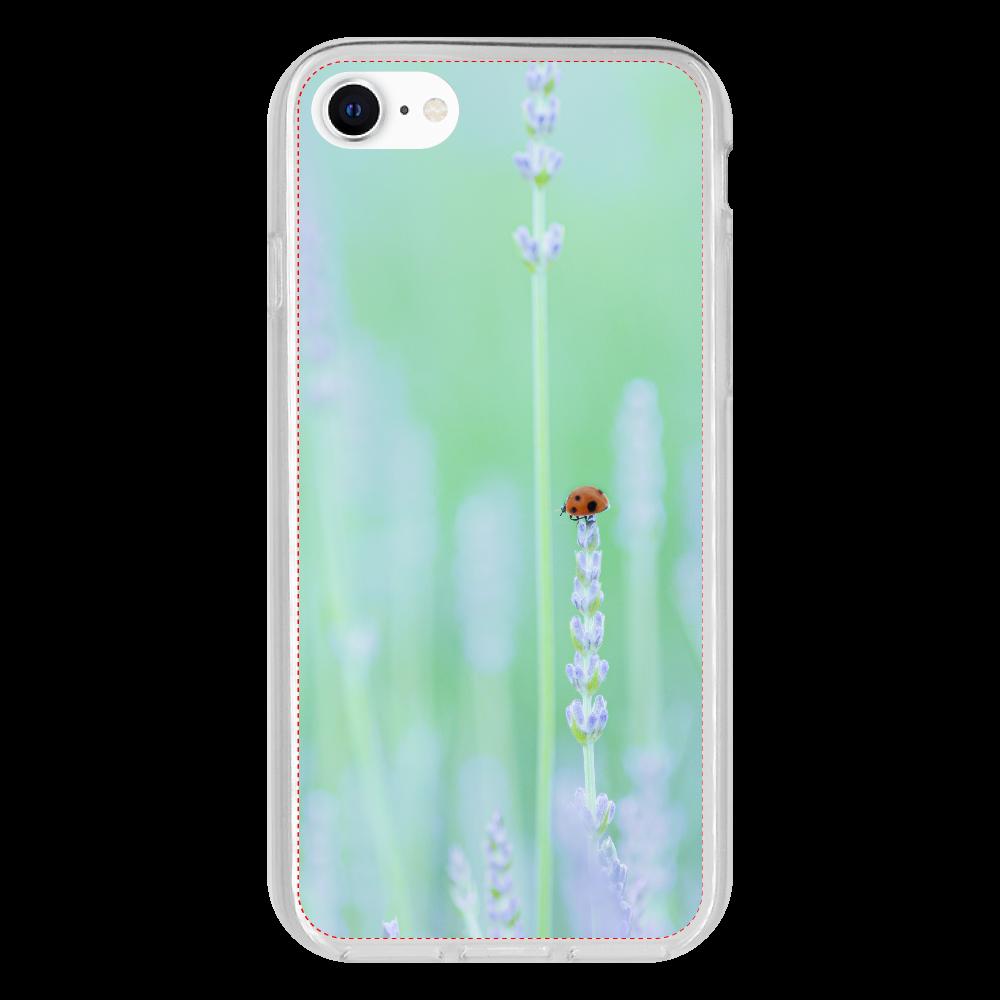 ラベンダーてんとうむし iPhone SE2 抗菌ソフトケース