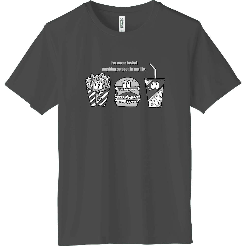 ジャンクフード/モノクロ インターロックドライTシャツ