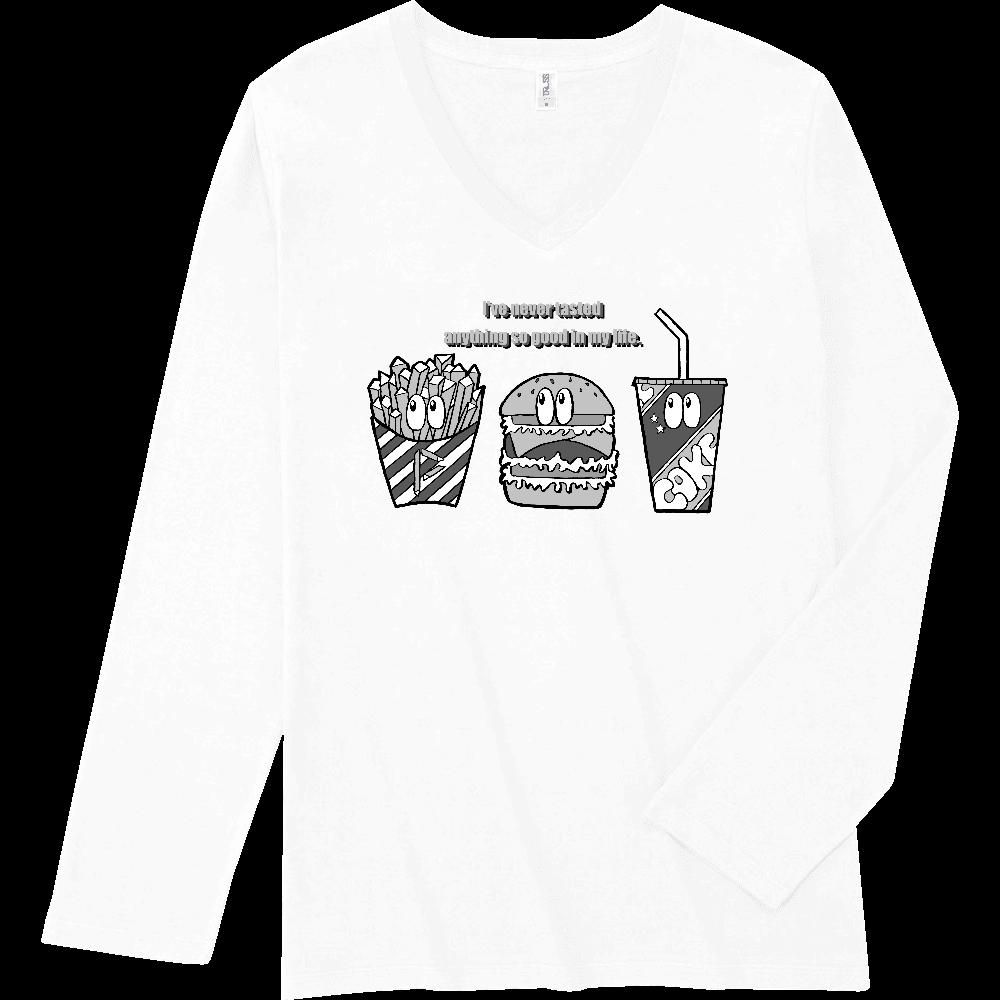 ジャンクフード/モノクロ スリムフィット VネックロングスリーブTシャツ