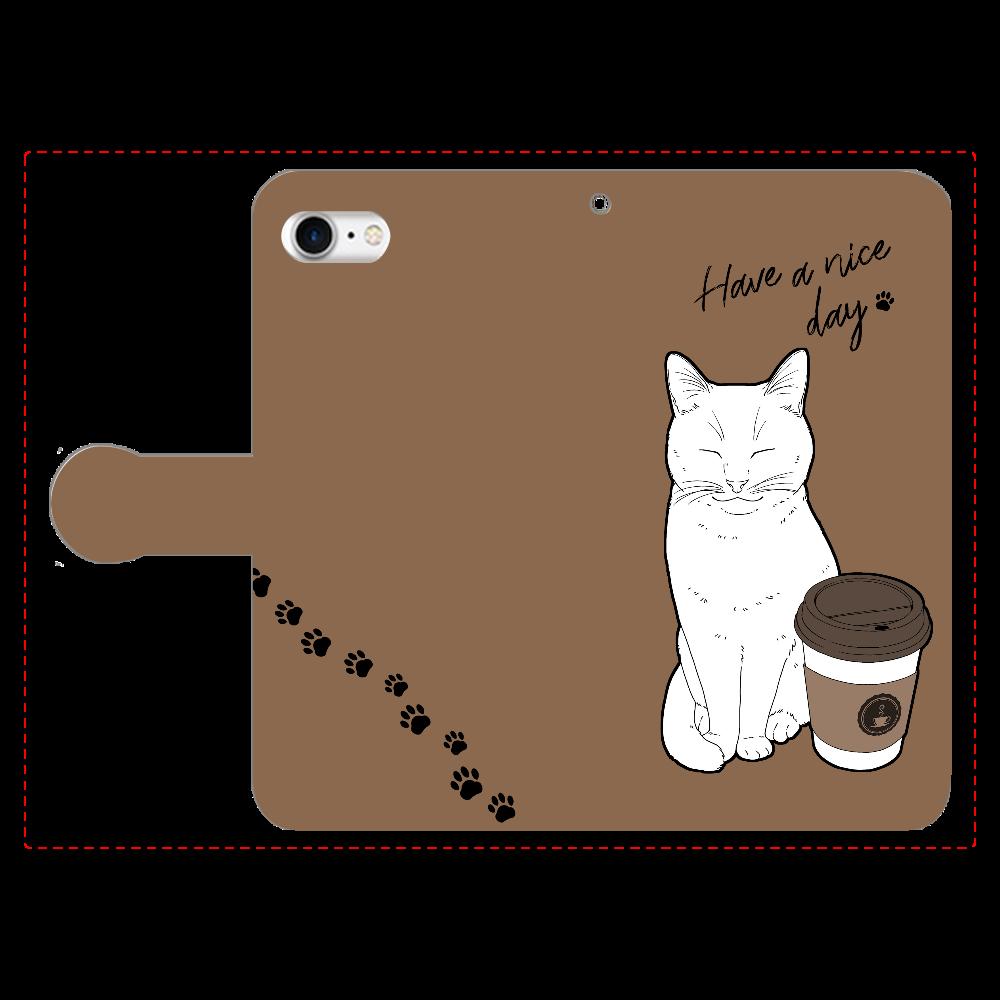 まったりカフェ猫 手帳型ベルト付きiPhone8