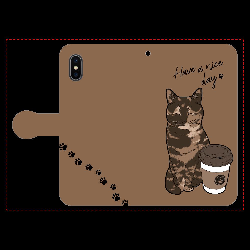 まったりカフェ猫 iPhoneX/Xs 手帳型スマホケース