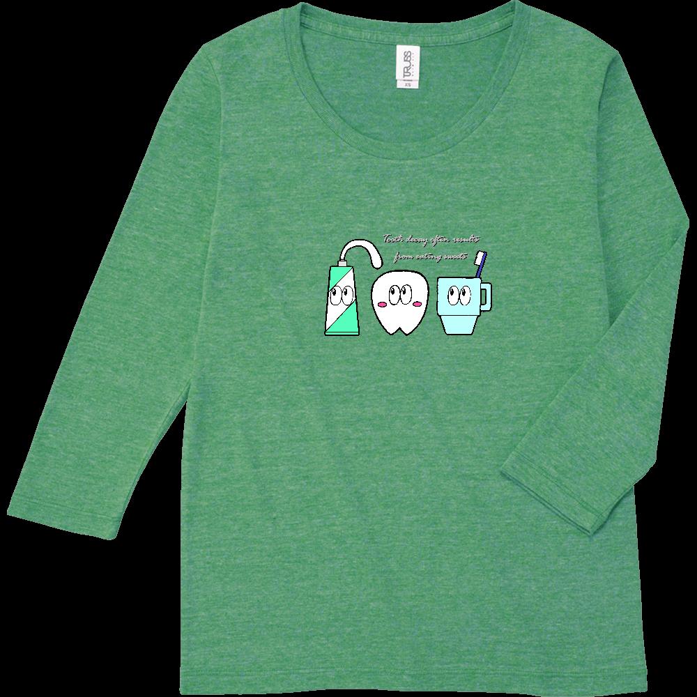はみがき/モンスター トライブレンド7分袖レディースTシャツ