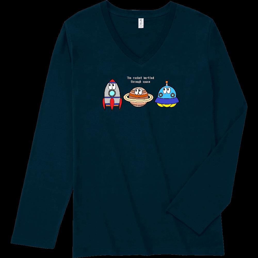 宇宙/モンスター スリムフィット VネックロングスリーブTシャツ