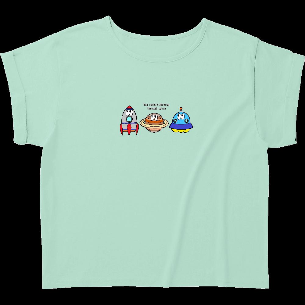 宇宙/モンスター ウィメンズ ロールアップ Tシャツ