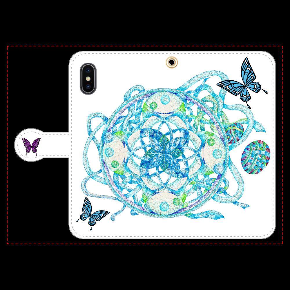曼荼羅ー羽化(ケータイカバー Xs) iPhoneX/Xs 手帳型スマホケース