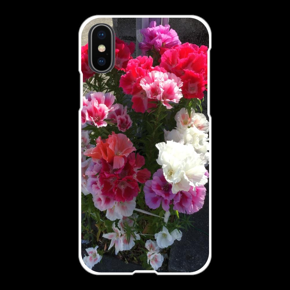 花1の表面のみ印刷iPhoneX/Xs(白)ケース  iPhoneX/Xs(白)
