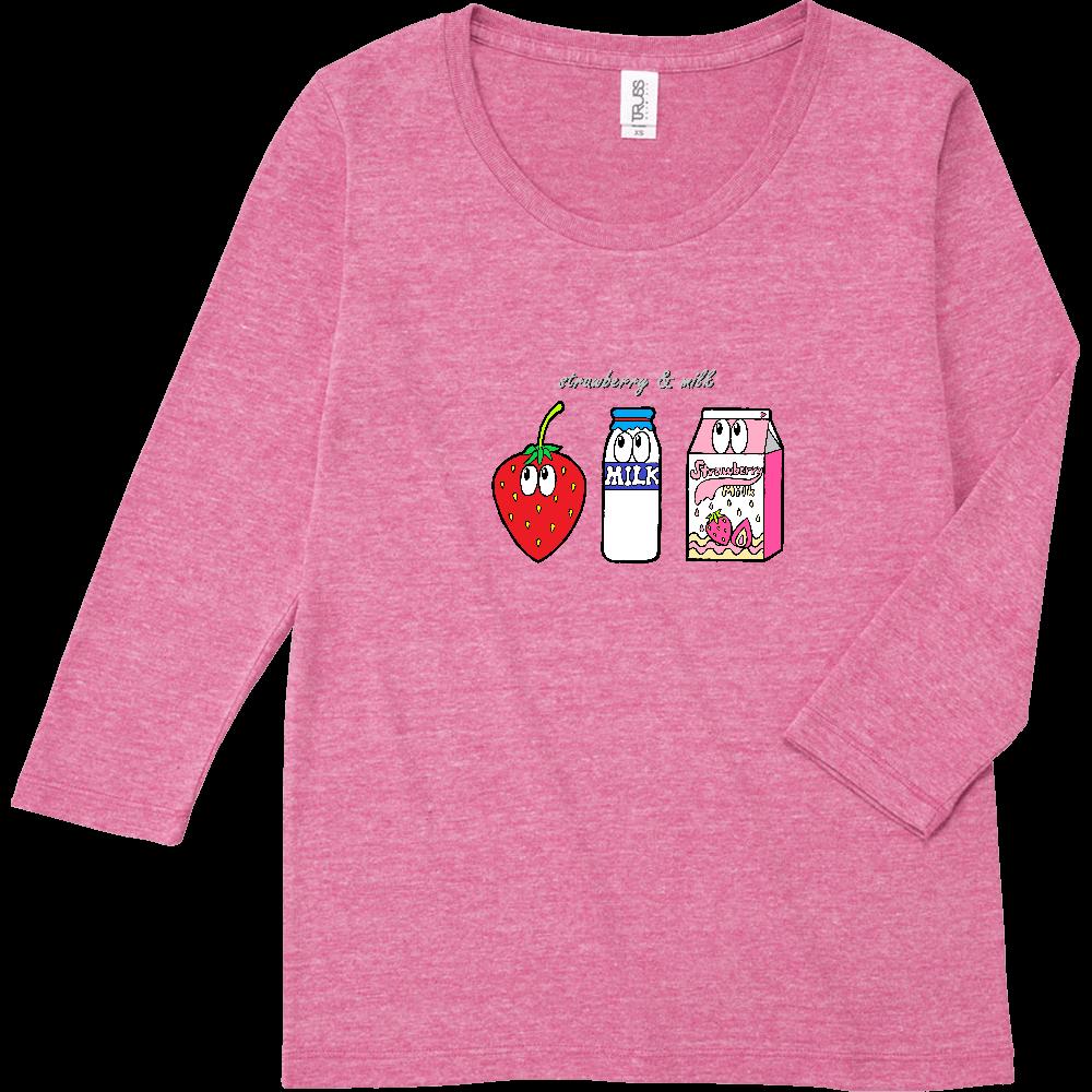 いちごミルク/モンスター トライブレンド7分袖レディースTシャツ