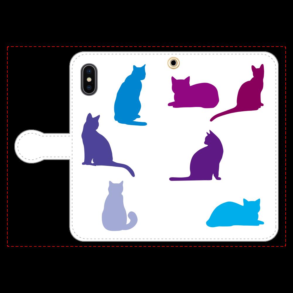 猫たちの手帳型ベルト付きiPhoneX/Xs iPhoneX/Xs 手帳型スマホケース