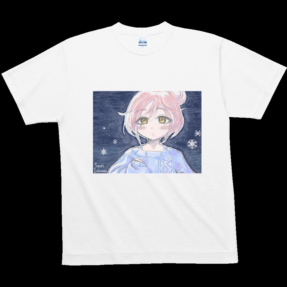 ゆるふわお団子ヘア少女と雪と ハニカムメッシュTシャツ