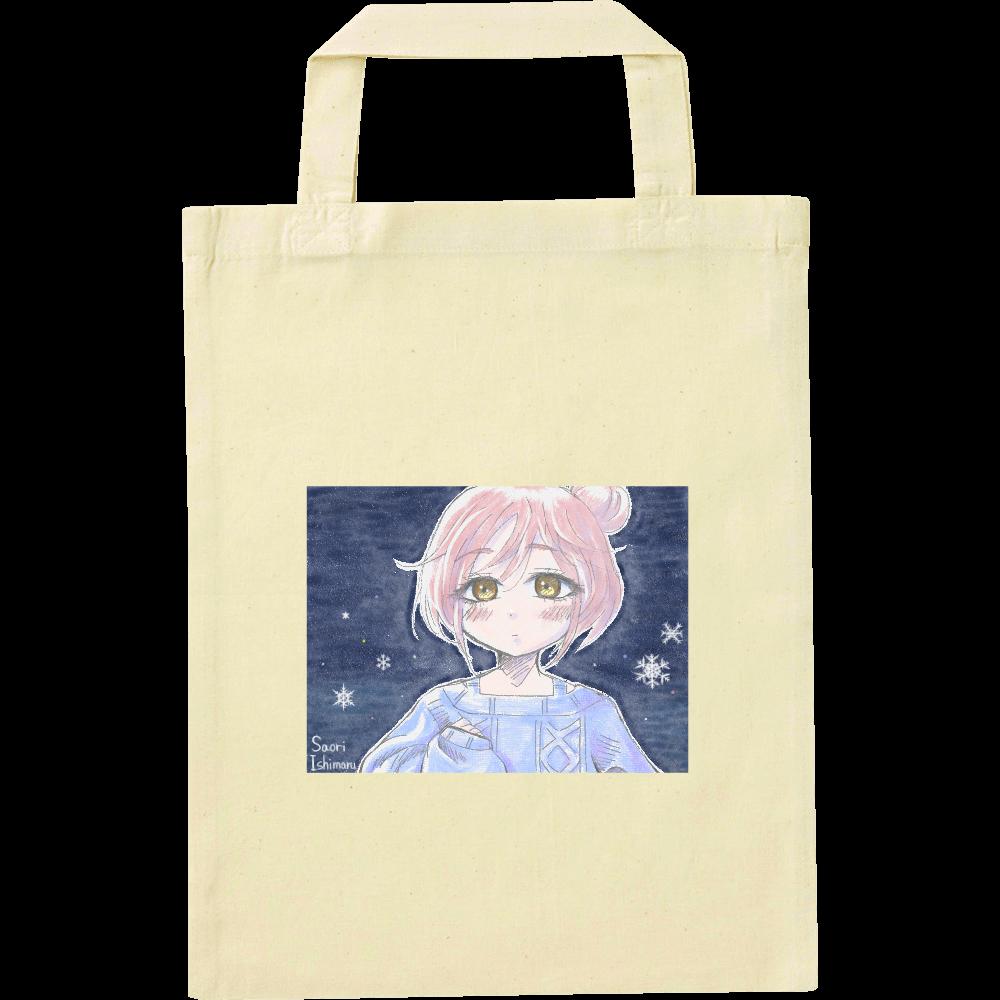 ゆるふわお団子ヘア少女と雪と ナチュラルファイルバッグ
