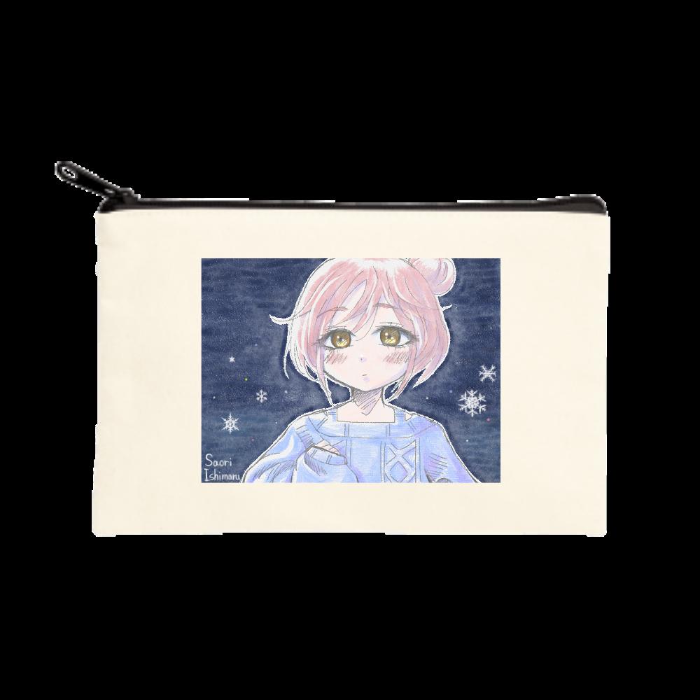 ゆるふわお団子ヘア少女と雪と ポーチ(S)
