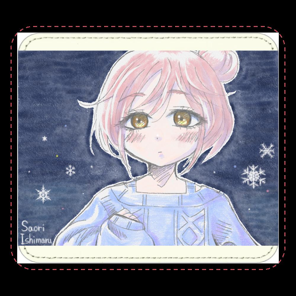 ゆるふわお団子ヘア少女と雪と レザーマウスパッド(スクエア)