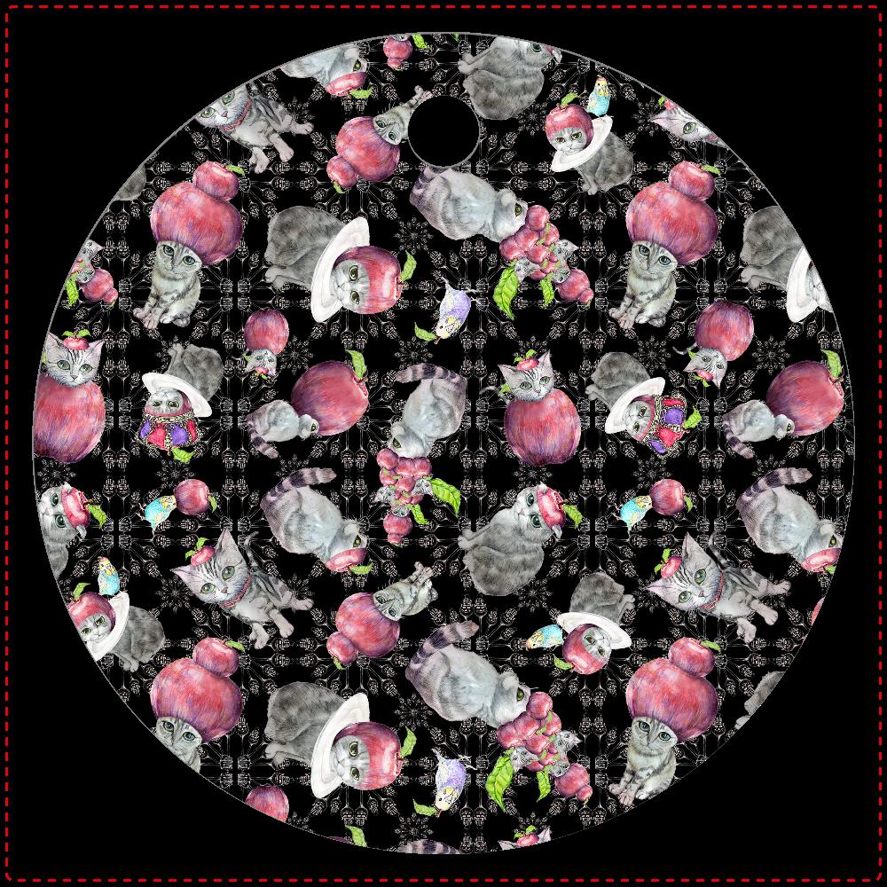 にゃんごろりんご レザーキーホルダー(丸型)