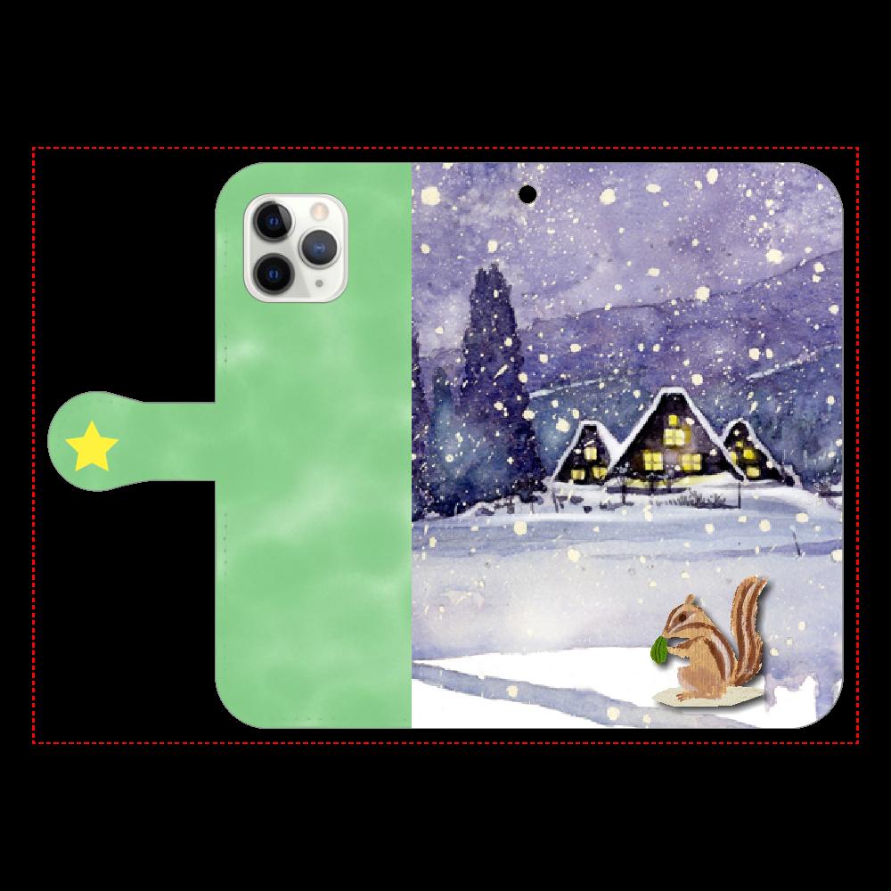 雪上のリス 手帳型iPhone11 Pro iPhone11 Pro 手帳型スマホケース
