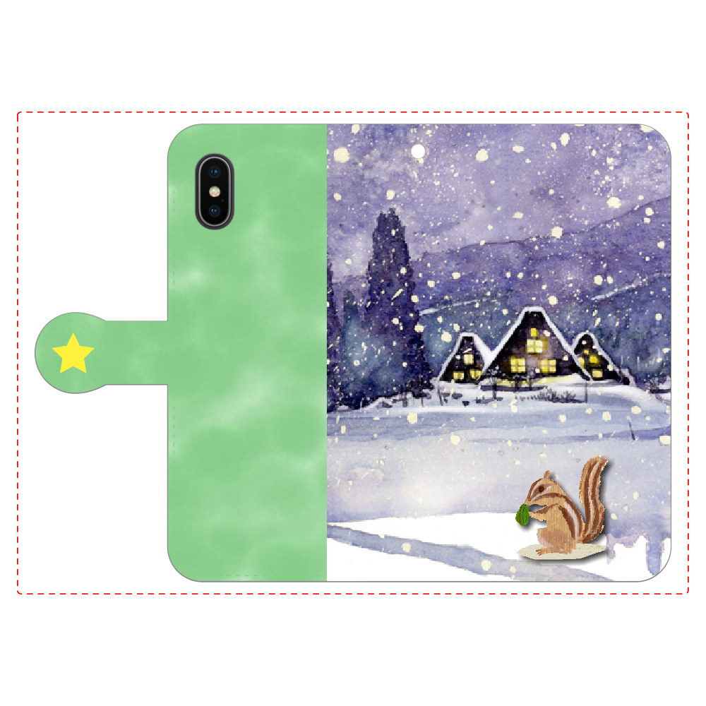 雪上のリス 手帳型iPhoneX/Xs iPhoneX/Xs 手帳型スマホケース