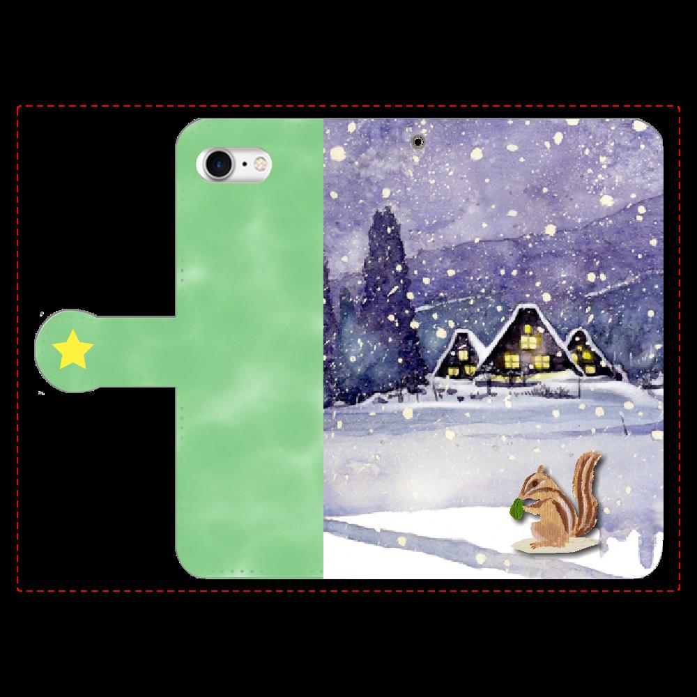 雪上のリス 手帳型iPhone8 手帳型ベルト付きiPhone8