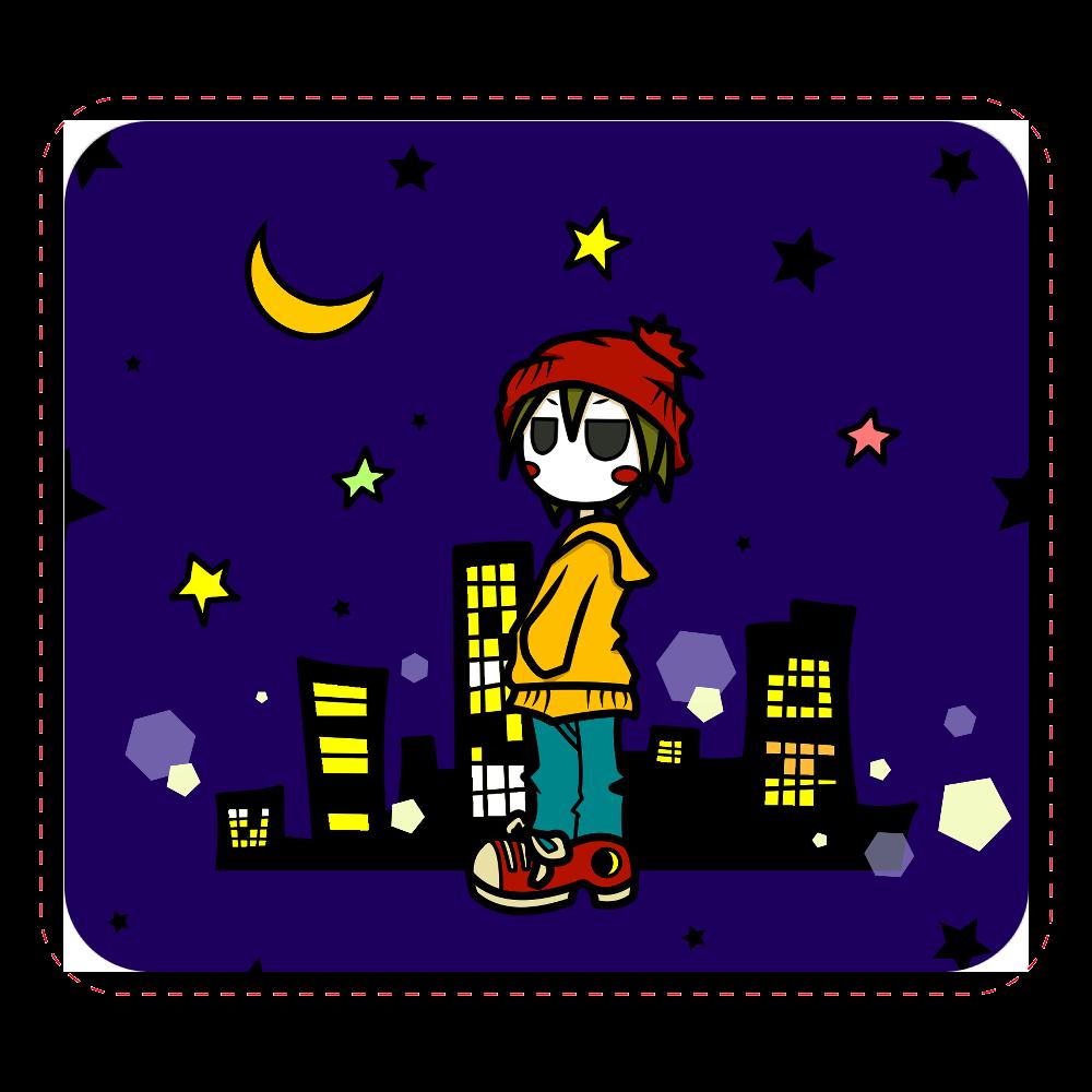 夜と少年 マウスパッド レザーマウスパッド(スクエア)