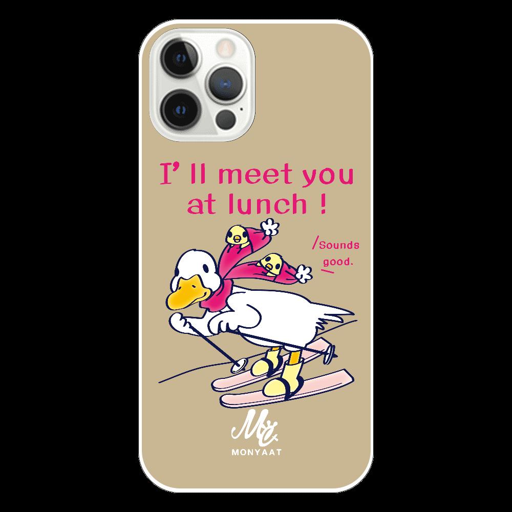 *8HHCT75*あひるのおひるさんのスキー*ブラウン iPhone12 Pro(透明)