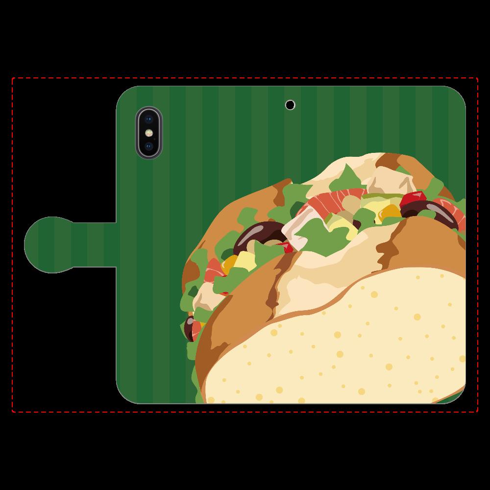 ミックスビーンズのサンドイッチのスマホケース iPhoneX/Xs 手帳型スマホケース