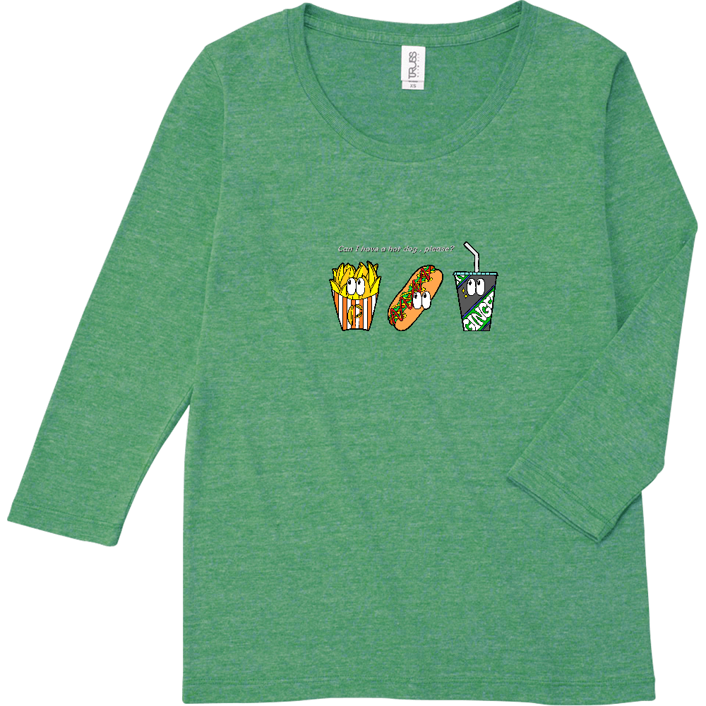 ファストフード/カラー トライブレンド7分袖レディースTシャツ