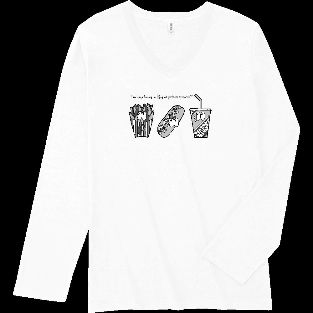 ファストフード/モノクロ スリムフィット VネックロングスリーブTシャツ