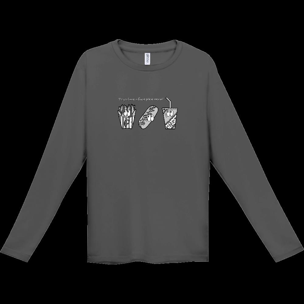 ファストフード/モノクロ インターロック ドライ長袖Tシャツ