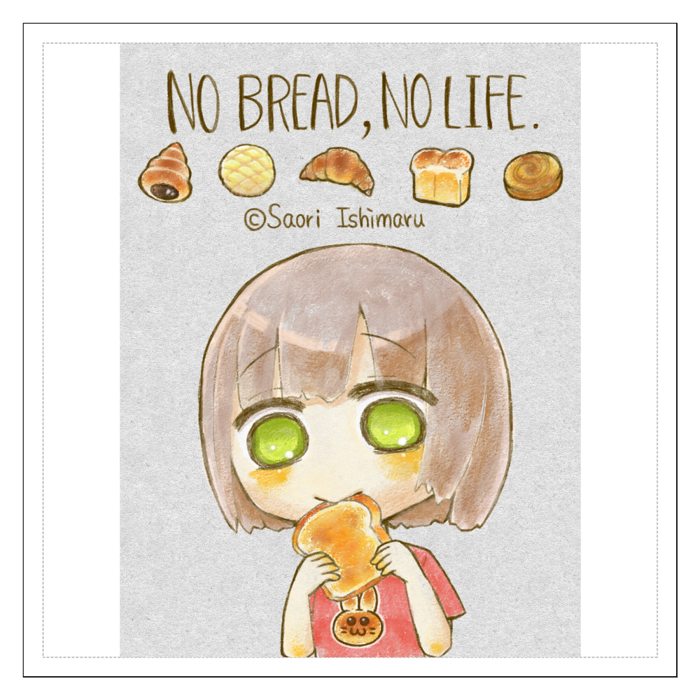 No Bread,No Life. 不透明版 100mmホワイトステッカー・シール