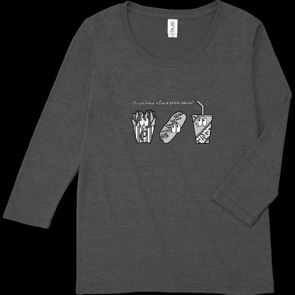 ファストフード/モノクロ トライブレンド7分袖レディースTシャツ