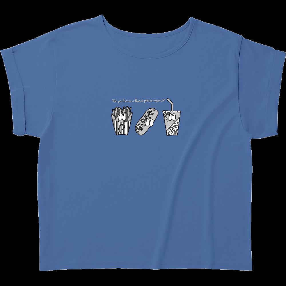 ファストフード/モノクロ ウィメンズ ロールアップ Tシャツ