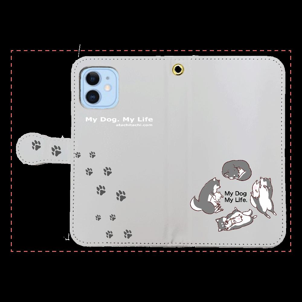 あたちたちのiPhone12/12pro 黒柴さん iPhone12/12pro 手帳型スマホケース