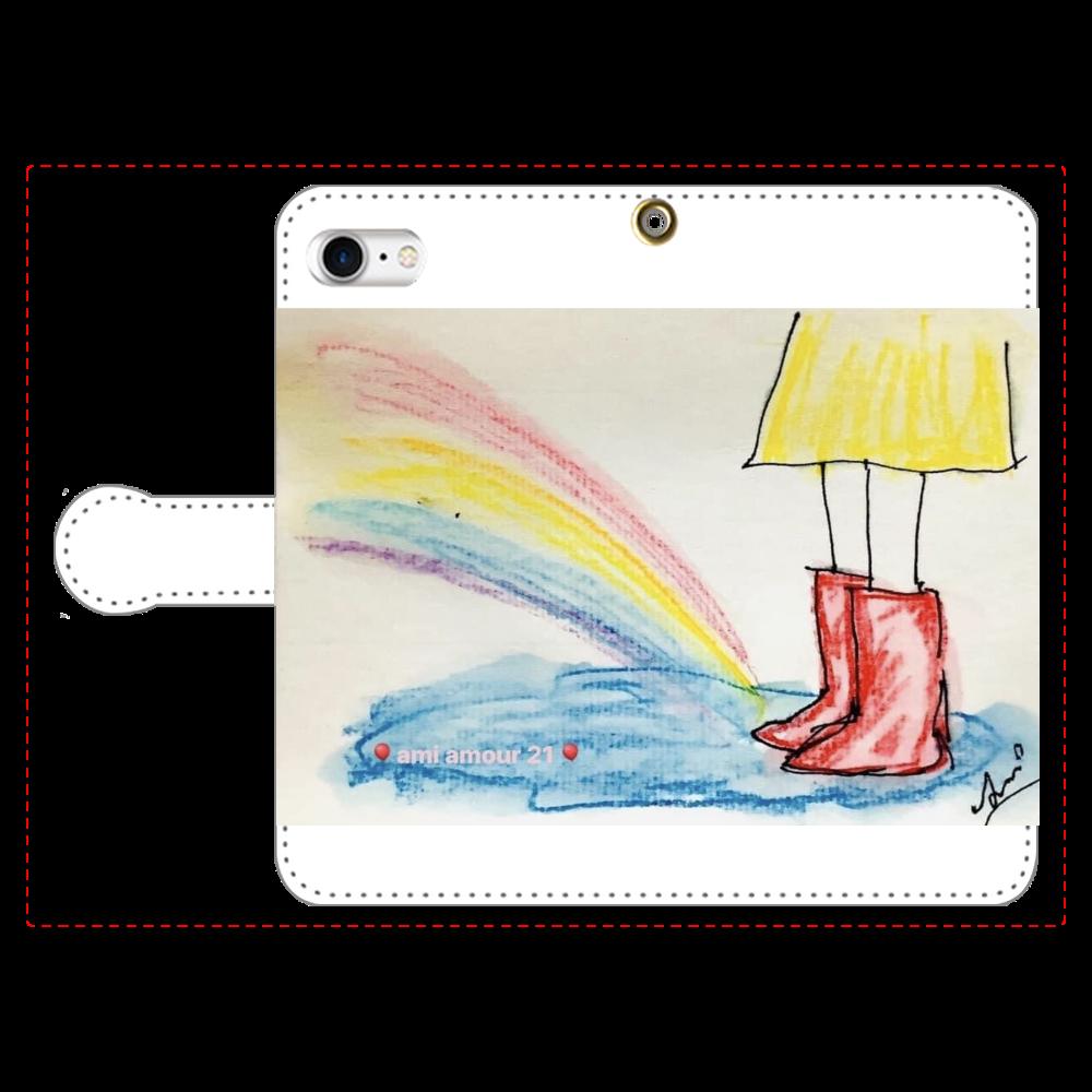 赤い長靴と虹(iPhone8) 手帳型ベルト付きiPhone8