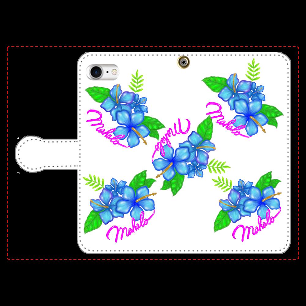 ハイビスカス スマホケース 手帳型ベルト付きiPhone8
