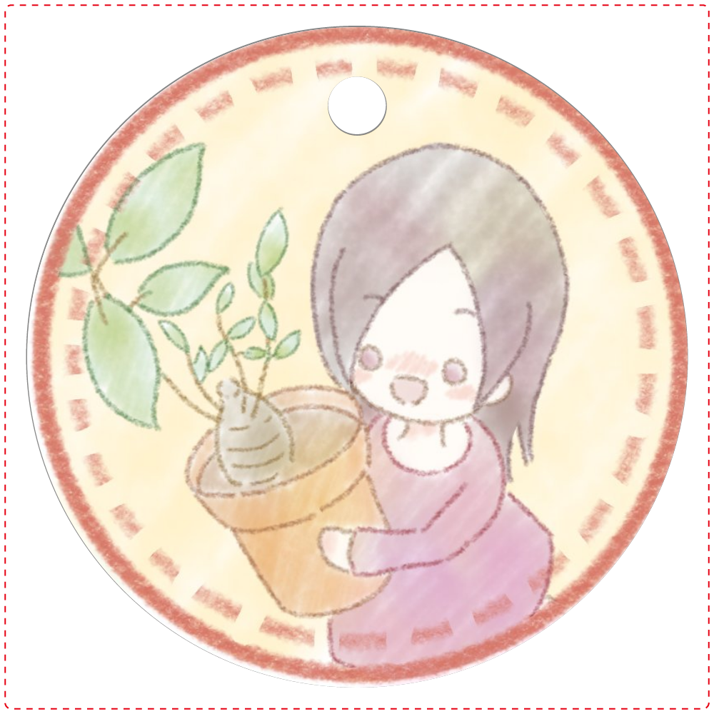 レザーキーホルダー「ぱてぃ」 レザーキーホルダー(丸型)